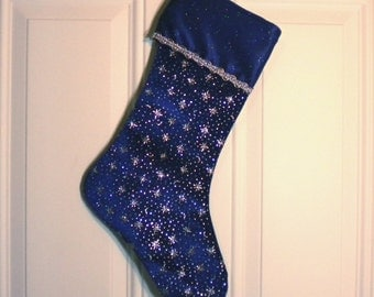 Blue Velvet Christmas Stocking with Glittery Silver Stars