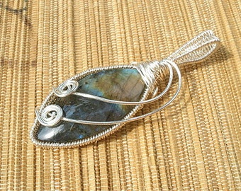 Wire wrapped blue gold Labradorite Marquis shape oval handmade large bail pendant