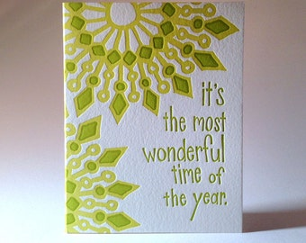 Most Wonderful Time Of The Year Letterpress Mandala Holiday Card