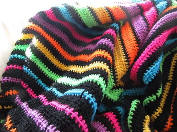 Easy Crochet Striped Afghan Patterns : Striped afghan pattern, Easy crochet blanket pattern from ...
