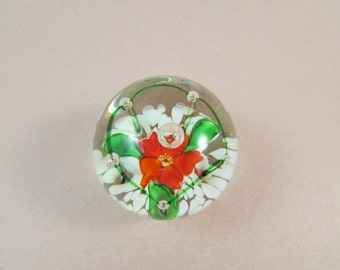 Red Flower Paperweight Vintage Glass Red Green White