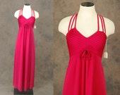 vintage Maxi Dress - 70s Red Dress - 1970s Deadstock Formal Party Dress Sz XS