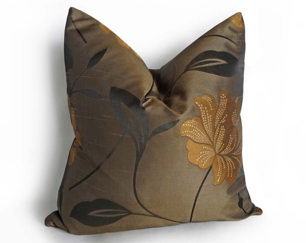 Gold Brown Throw Pillows : Metallic Damask Pillow Iridescent Brown Bronze by PillowThrowDecor