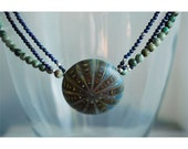 Warm Water Necklace - Blue Lapis, Green turquoise and hollow glass bead pendant