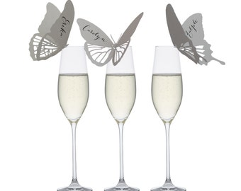 20% OFF - Butterfly Place Cards - wine glass, champagne glass, handmade, stylish, tasteful, sophisticated, chic, smart, modish, refined