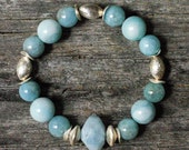 Aquamarine Brushed Sterling Silver Bracelet / Aqua Sky Blue / Carribean Sea Blue / Natural Gemstone Bracelet / Stacking Bracelet / Grey Blue