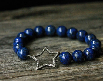 Diamond Star Lapis Lazuli Bracelet / Deep Indigo Blue Gold Natural Gemstone / Sterling Silver Galaxy Space Planet Stars Night Sky Inspired