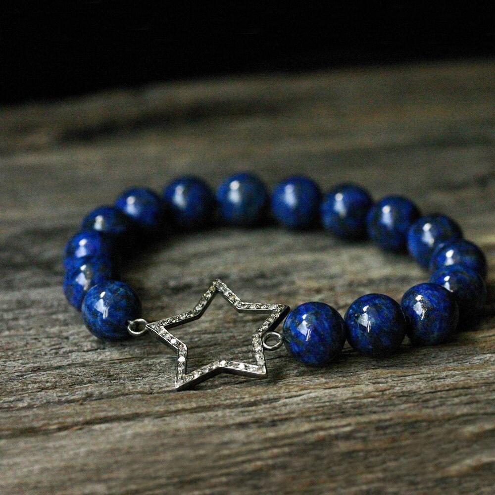 diamond star lapis lazuli bracelet deep indigo blue gold. Black Bedroom Furniture Sets. Home Design Ideas