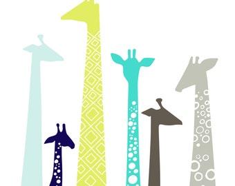 "8X10"" modern giraffe silhouettes giclee print on fine art paper. teal, pistachio green, navy, gray"