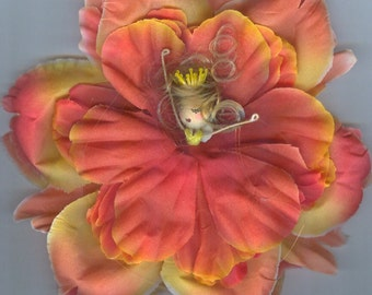 Deluxe Blonde Flower Fairy with Orange and Yellow Petals