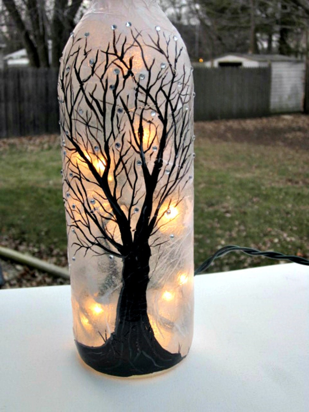 Wine Bottle Light Night Light Hand Painted Wine Bottle