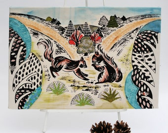 Screen printed fabric Wall Canvas with Squirrels