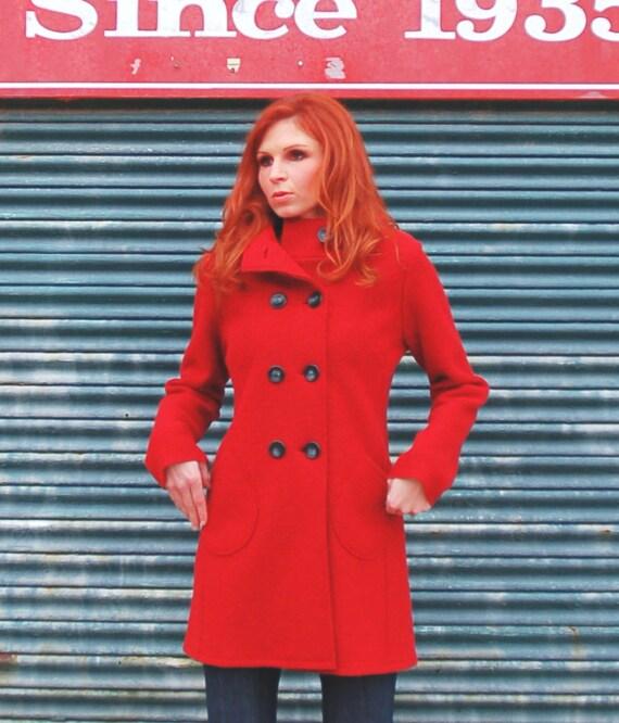 Women's hooded coat in Fire Engine Red luxurious Virgin Merino boiled wool knit