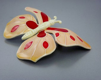 Large Enamel Butterfly Brooch, West German Jewelry, Orange Peach, Large Brooch Pin, Signed Jewelry, Costume Jewelry