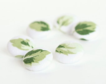 Fabric Buttons - Green Leaves - 6 Small Leaves of Roses on White Fabric Covered Buttons