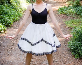 Black and White Vintage inspired Full circle skirt with Black lace and bows