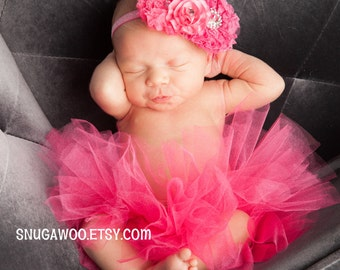 Azlyn Collection- Hot pink Newborn tutu, Infant Baby Girl Tutu WITH coordinating headband bow, newborn photo prop, baby girl gift, newborn