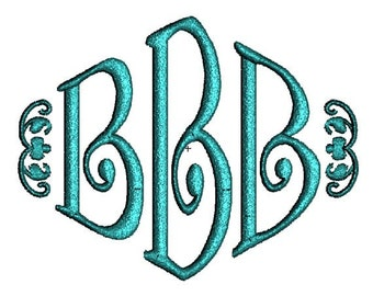 Curly Diamond 3 Three Letter Machine Embroidery Monogram Fonts Designs 4x4 Hoop Instant Download Sale