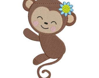 Cute Monkey Girl Zoo Jungle Machine Embroidery Designs 4x4 & 5x7 Instant Download Sale