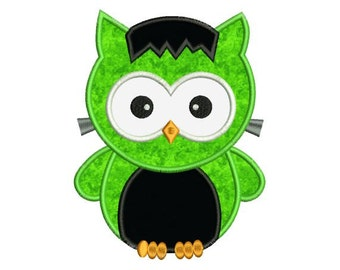 Applique Halloween Owl Frankenstein Machine Embroidery Designs 4X4 and 5X7 Included - Instant Download Sale