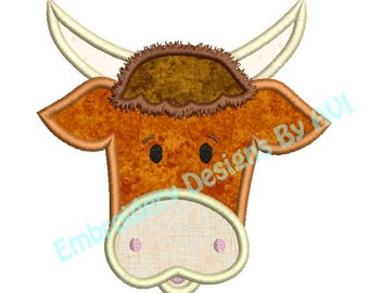 Cute Bull Steer Cow Face Applique Machine Embroidery Designs Instant Download Sale 4x4 and 5x7