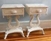 Victorian Shabby Chic White Distressed Marble top Night Stand Pair