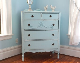 custom order antique dresser tallboy shabby chic aqua blue distressed cottage light blue prairie