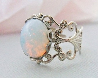 Opal Ring, Opal Jewelry, Silver Opal Rings, Adjustable White Opal Ring, October Birthstone