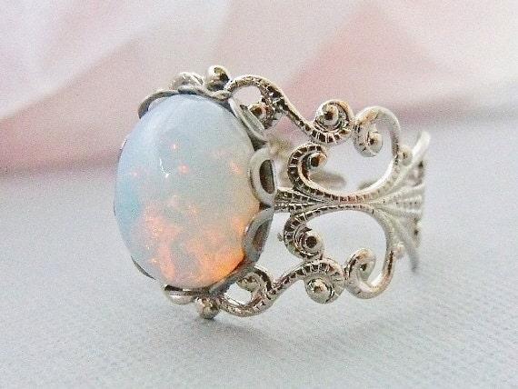 White Opal Rings Etsy