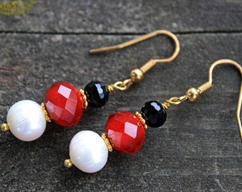 Red Crimson Black Pearl and Crystal Bridal Earrings // Bridesmaid Jewelry //  Gifts Under 15 // Red and Black Bridal Jewelry // Earrings