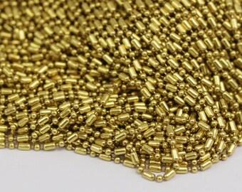 Raw Brass Ball Chain, 5m (2.3mm) Raw Brass Ball Or Stick Chain - W66 (z008)