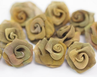 Brass Rose Charm, 5 Raw Brass Wire Mesh Folded Rose Sculpture (25mm) D021--c045