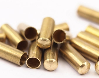 One Hole Tubes - 12 Raw Brass Industrial Tubes With One Hole End, Findings (19x7mm) D046