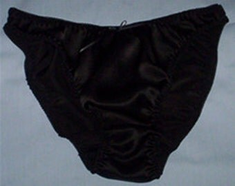 Black silk satin panties available in UK sizes 8 - 20
