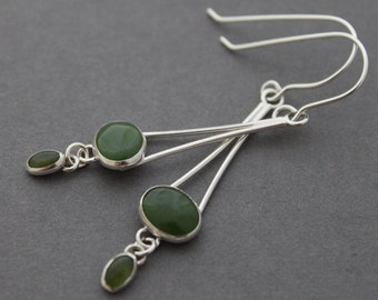 Sterling and Nephrite Jade Earrings - Illuminating Lullaby