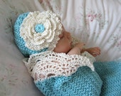 Seaside Cottage Baby Cocoon / Snuggle Sack and Hat Newborn in Aqua and Cream Cotton Baby Blanket Photo Prop