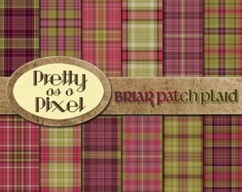 Digital Paper Pack - Briar Patch Plaid - Scrapbooking Backgrounds - Set of 12 - INSTANT DOWNLOAD