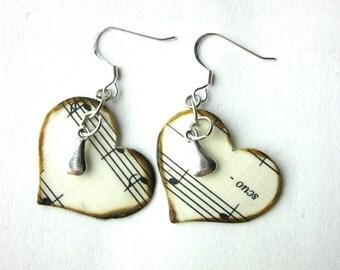 Heart earrings, book page earrings, literary earrings, book page jewelry, Joy of Music
