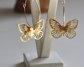 Reserved for Sybille - Three Dimensional Butterflies Earrings - Gold Platted  Hoops with 3D Butterflies