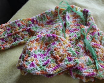 Handcrocheted baby sweater set