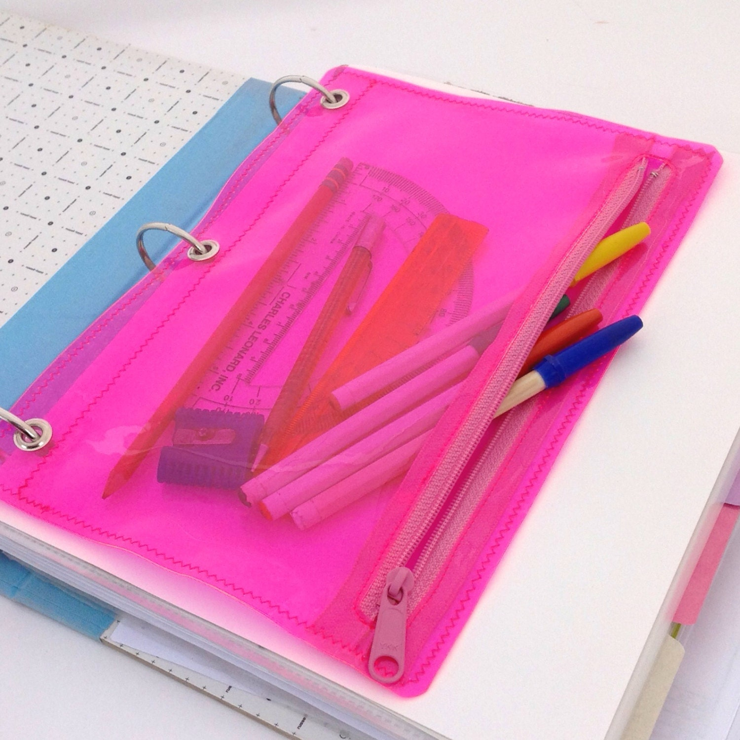 Vinyl Pencil Pouch For Three Ring Binder Neon Pink