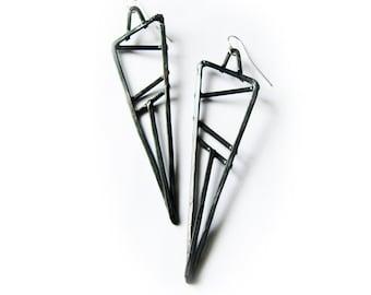 Geometric Earrings - Copper - Black Finish - Slice Design - handmade in Austin, Tx