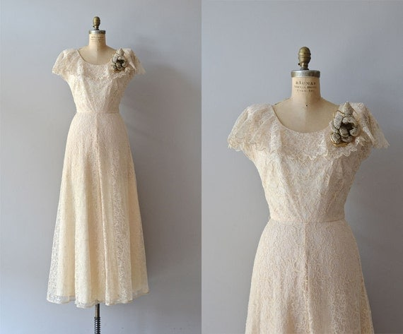 Lace 1940s Wedding Dress / Vintage 40s Dress / By DearGolden