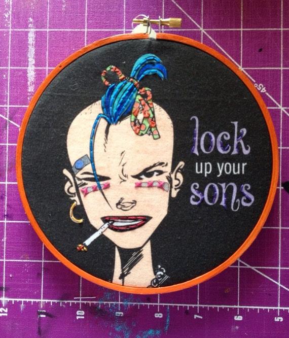 "Tank Girl, Lock Up Your Sons, British Cult Comic Book Feminist  6"" Embroidery Comic Book Metal Hoop Art"