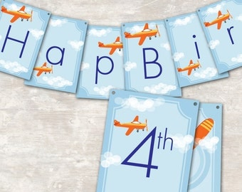"PRINT & SHIP Airplane Party Pennant Banner (""Happy 1st Birthday"") 
