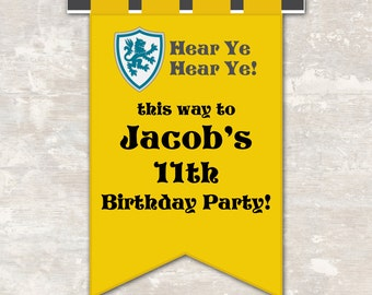 PRINT & SHIP Medieval Knights Castle Dragon Birthday Party Front Door Sign (each) | Paper and Cake