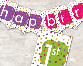 "PRINT & SHIP Polka Dot Birthday Party Pennant Banner (""Happy 1st Birthday"") >> personalized and shipped to you <<"