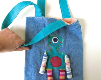 Kid Bag with Monster Applique - Recycled Fabrics, Child Handbag, Fun Tote Bag, Dangly Legs