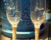 Bride & Groom Rustic Sunflower Wedding Toasting Glasses
