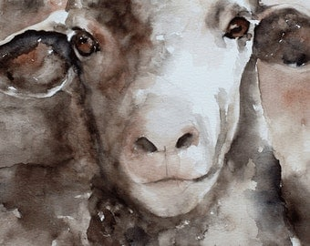 baby room decor baby Sheep PRINT from original Watercolor Painting Animal painting Children nursery decor of sheep wall hanging girl 5x7